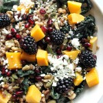 Blackberry Kale Farro Salad with Maple Tahini Dressing