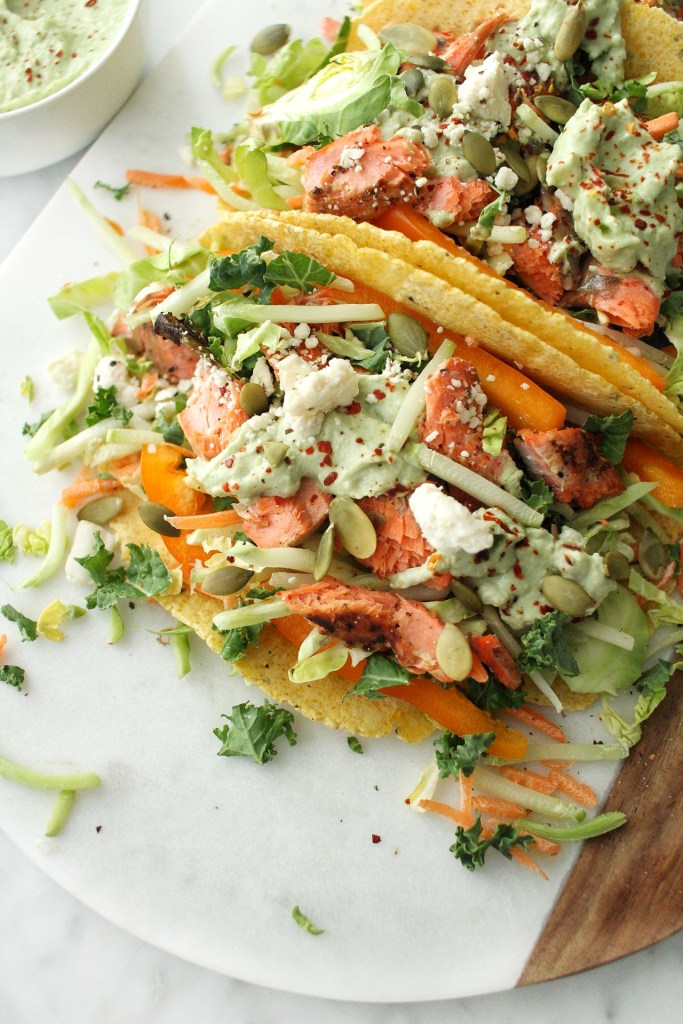 salmon tacos with avocado yogurt crema