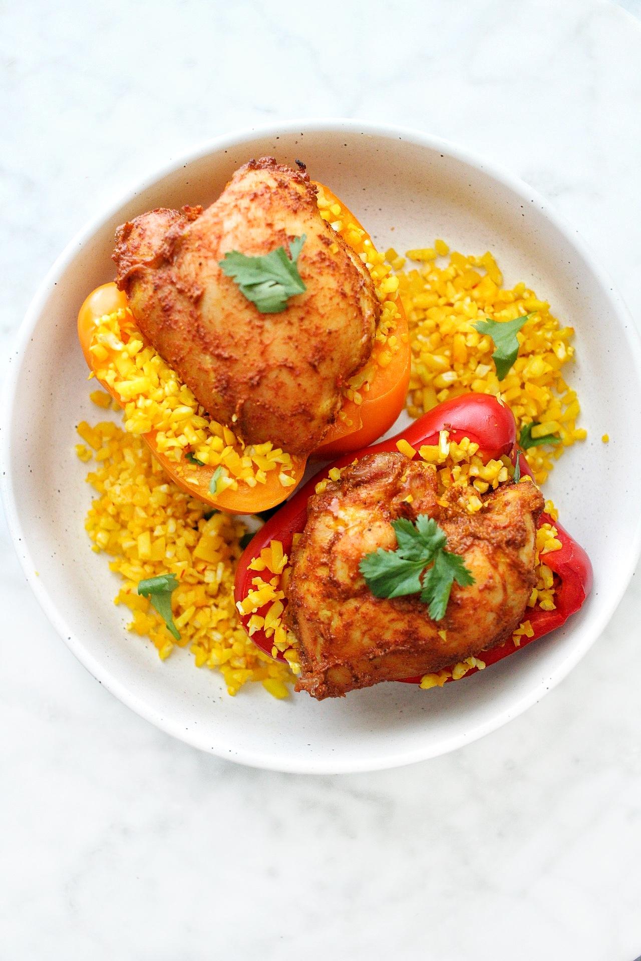Tandoori Chicken stuffed peppers with saffron cauliflower rice