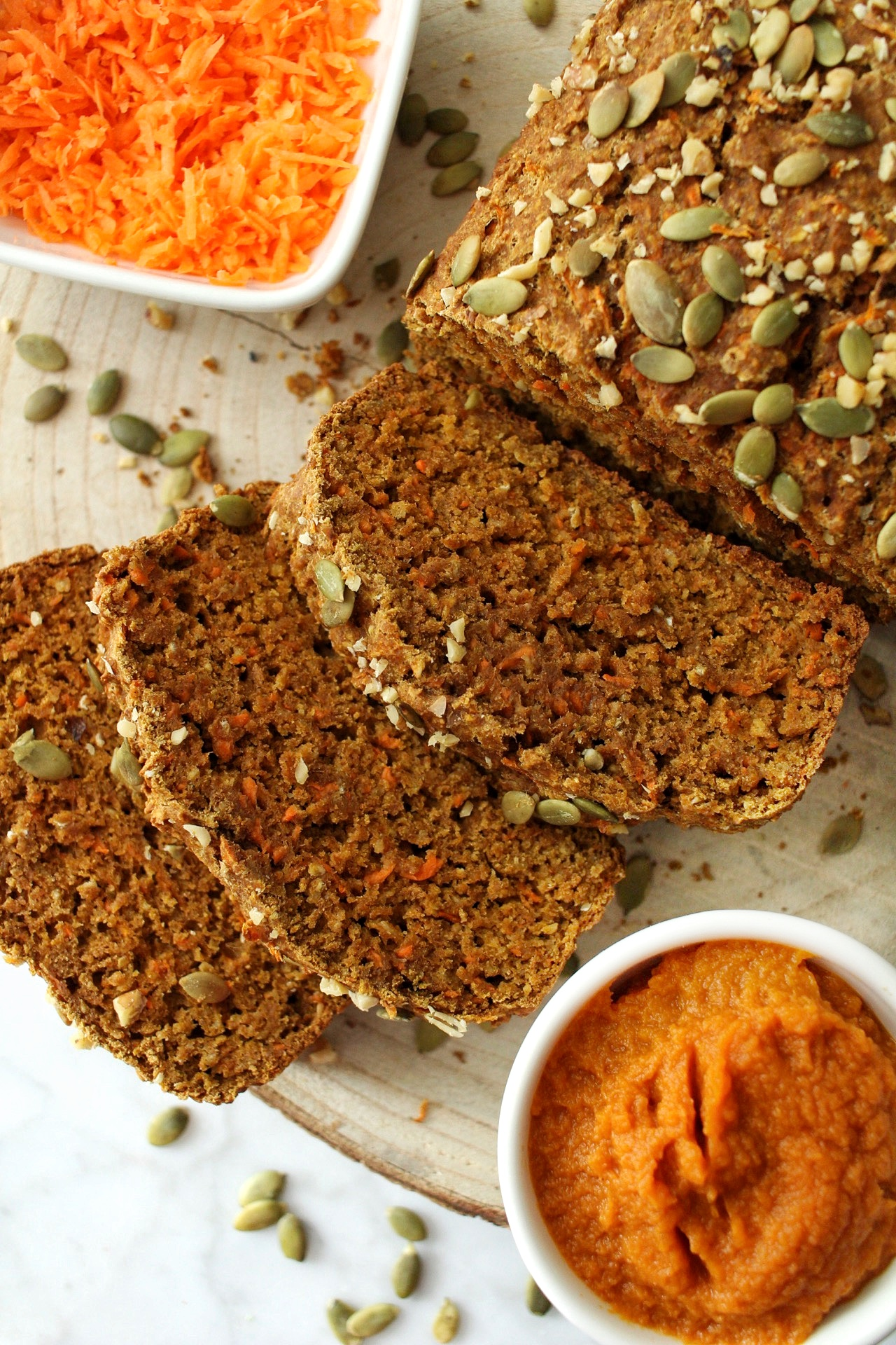 healthy pumpkin carrot bread