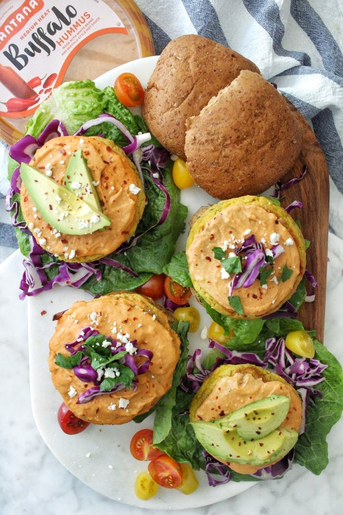 Salmon Burgers with Buffalo Hummus
