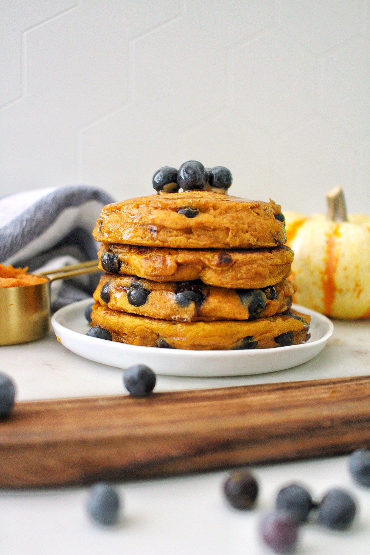 delicious pumpkin blueberry pancakes