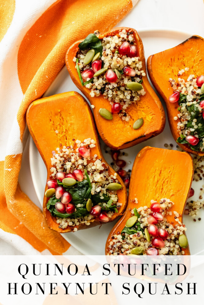 Festive, delicious and super nutritious make this quinoa stuffed honeynut squash for a super easy weeknight meal! It's sweeter and nuttier tasting than a butternut squash and simple to roast! #honeynutsquash #quinoa #squash # fall #pomegranateseeds #pumpkinseeds #onceuponapumpki