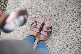 Pink mules satin sabot outfit Steve Madden