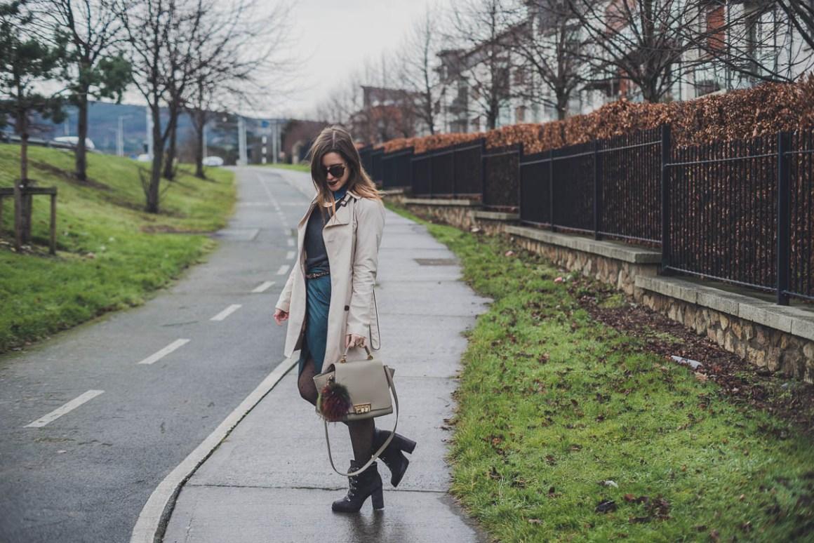 Tulip skirt, midi skirt, teal green skir, trench