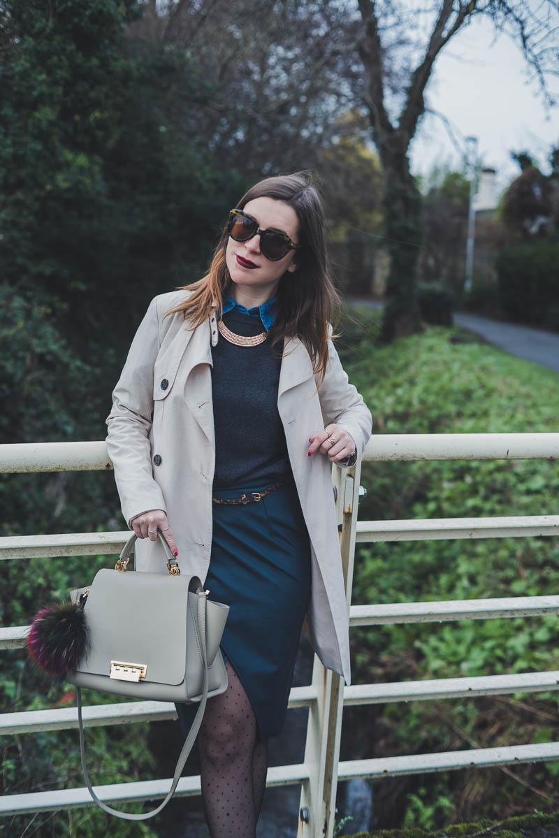 Tulip skirt, midi skirt, teal green skir, trench