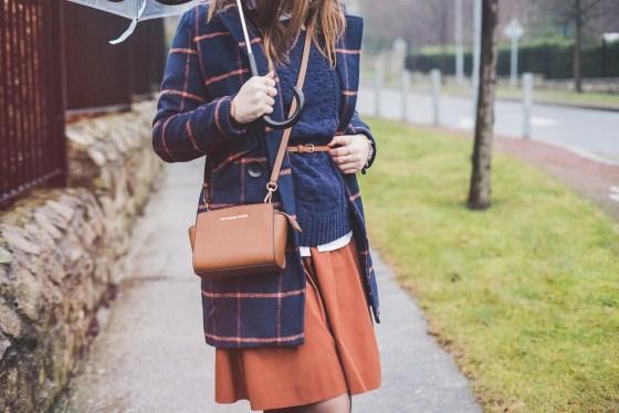 Tartan Coat - Cappotto Tartan arancione e blu