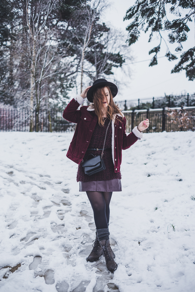 Sherpa Bomber Jacket Burgundy Suede Botkier Bag Snow Outfit