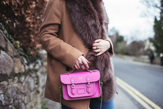 Cambridge Satchel Co Monogram Neon Pink Fur Stripes