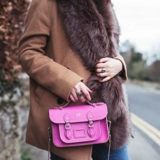 Cambridge Satchel Co Monogram Neon Pink Fur Stripes