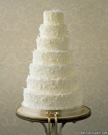 white coconut tall wedding cake   Once Wed white coconut tall wedding cake
