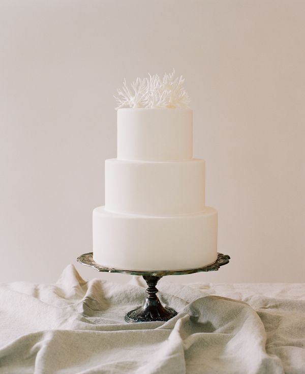 Simple Wedding Cakes Coral Cake Topper   Once Wed White Simple Wedding Cakes
