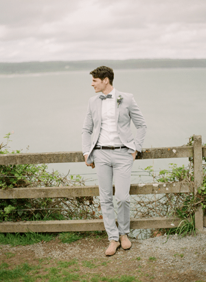 Light Grey Fitted Wedding Suit Once Wed