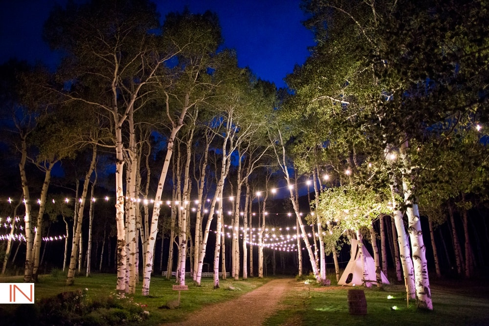 mountain wedding venue with string lights