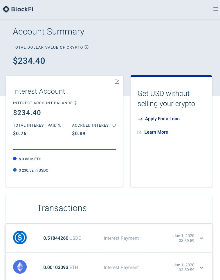 BlockFi Account Summary - Earning interest on crypto - Onchainguru.com