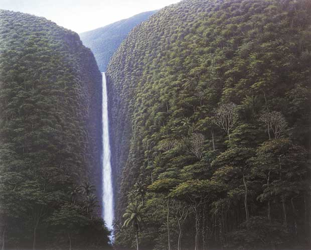 Tomás Sánchez: Cascada escondida,  2000 / Óleo sobre lienzo / 121,9 x 152,4 cm