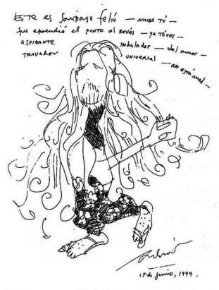 """Dibujo de Silvio Rodríguez, publicado en el post """"Santy"""" de su blog Segunda Cita."""