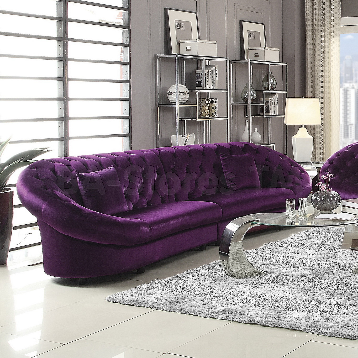 Furniture Warm Purple Sofa To Complete Your Living Room Decor