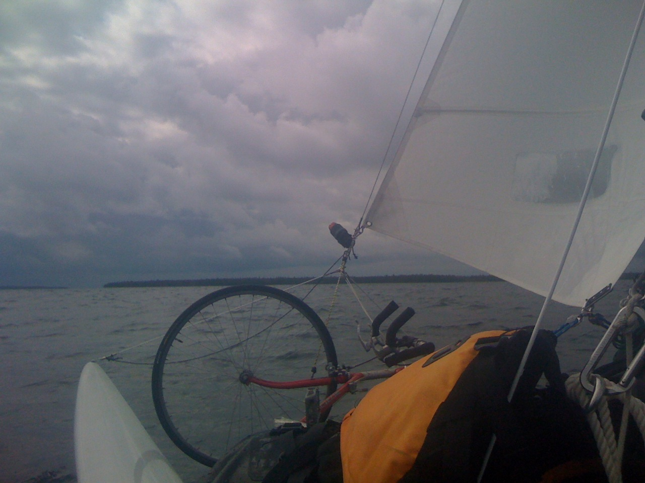 An ominous sky as I approach the Summer Islands and the crossing of the BIg Bay du Noc