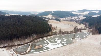 Foto z dronu - zimní Vysočina