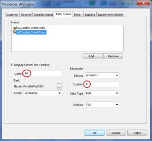 E-Prime task event reset parallel port