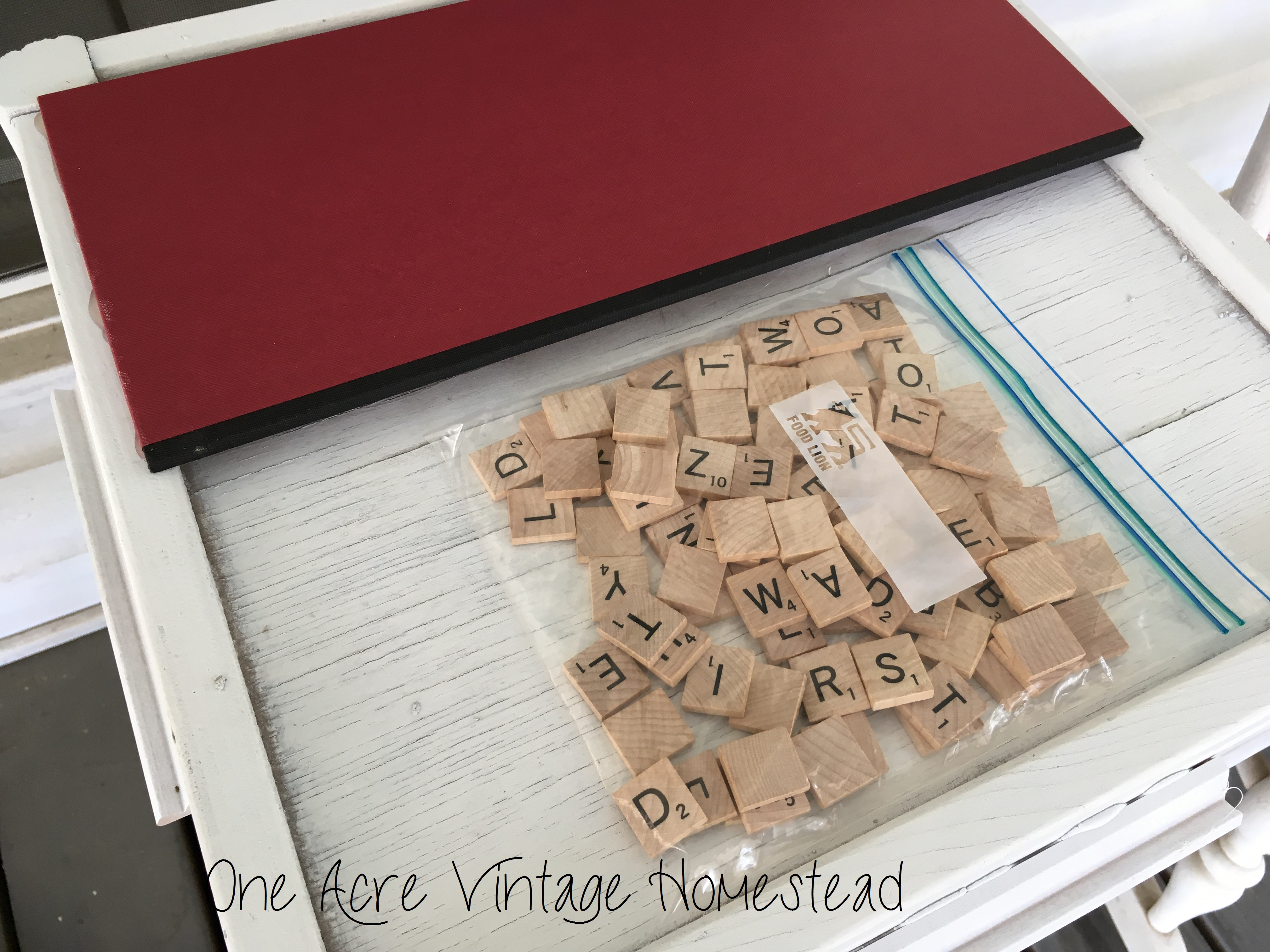 scrabble game board table an upcycle craft project
