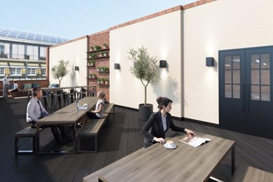 communal rooftop terrace with plants outside and people having a quiet coffee or informal meeting