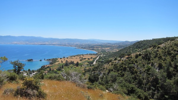View from the top of the aphrodite hiking trail in Paphos, Cyprus