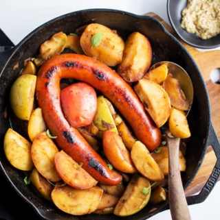 Sausage and Apples Skillet Dinner easy one pan weeknight meal with only two ingredients