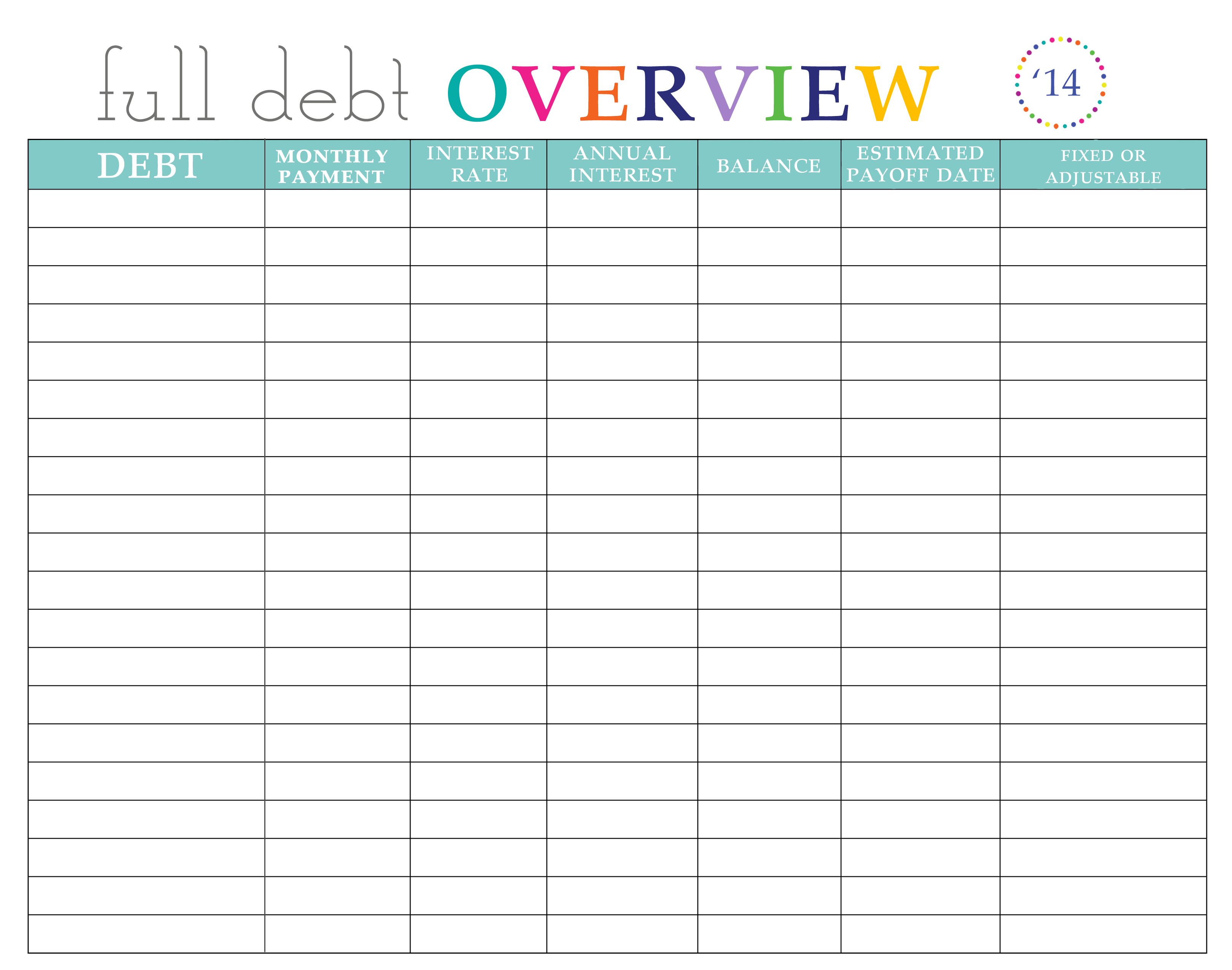Credit Card Budget Worksheet