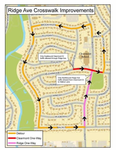 Detail of road work and detour near Ridge Avenue