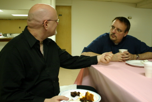 Randall Warren talks to Mark D Britt at Holy Innocents