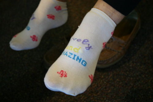 Carmen's Lovely and Amazing embroidered socks
