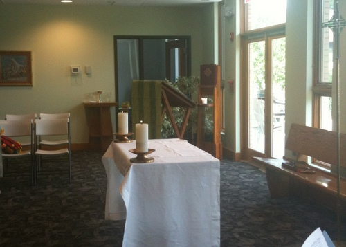 Holy Innocents Hall set up as a worship space for summer