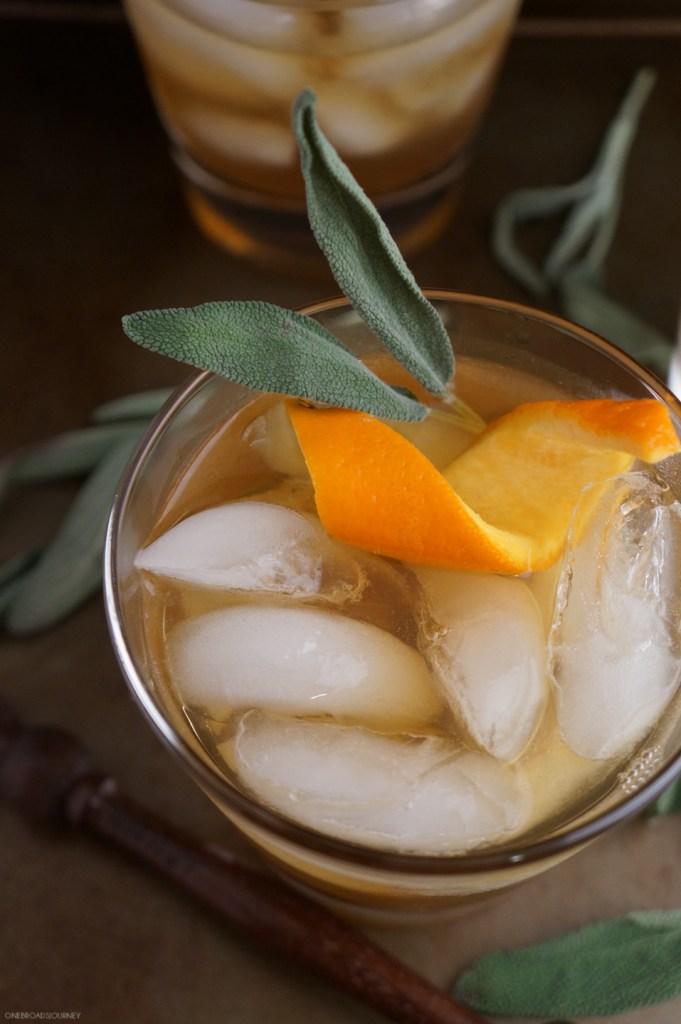 Winter Bourbon Cocktail Honey Sage