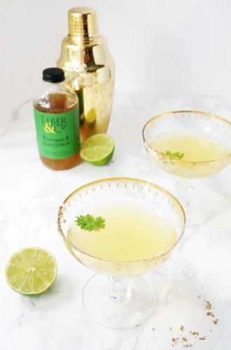 Cilantro Lime Pineapple Gum Syrup Vodka Cocktail