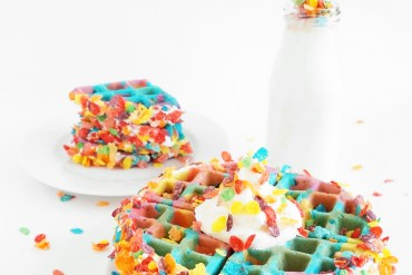 Tie Dye Fruity Pebbles Crusted Waffles