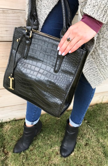 Black Crocodile Embossed Faux Leather Handbag and Bali Legacy Collection Brazilian Smoky Quartz Sterling Silver Ring