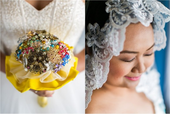 Brooch Bouquet & Veil by Lisa Penny