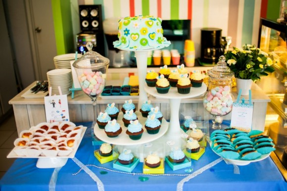 Yellow and Blue Dessert Table
