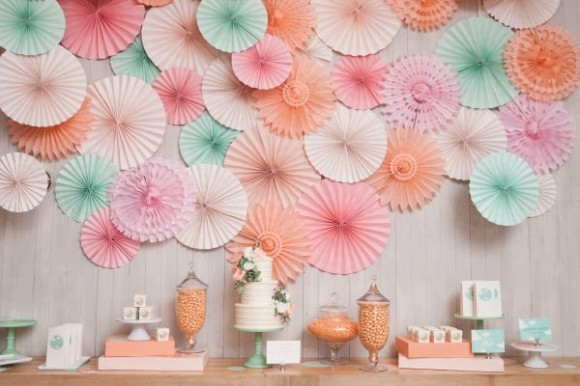 Mint and Peach Pinwheel Backdrop