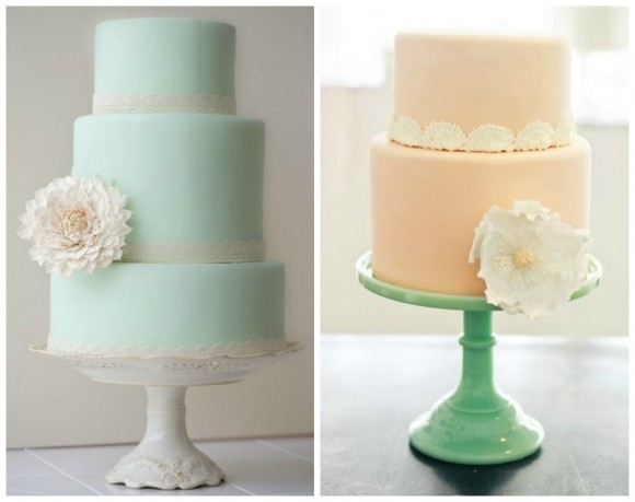 Mint and Peach Wedding Cakes