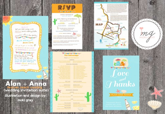 Mexican and Beach Wedding Invitation by Moki Gray