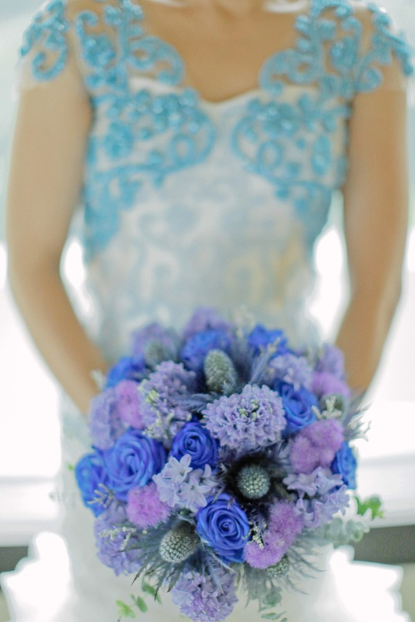 Blue and Violet Bridal Bouquet