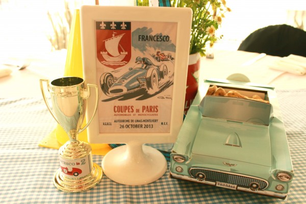 Vintage Race Car Birthday Party table centerpiece