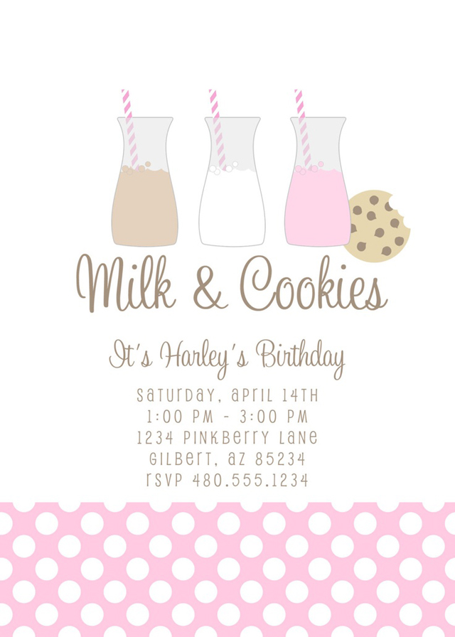 milk and cookies invitation girls party