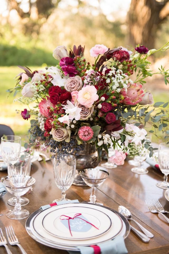 marsala flowers table centerpiece