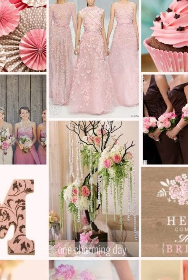 pink and brown inspiration board