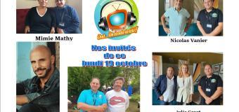 Voici nos podcasts de nos émissions Chut on écoute la télé de ce lundi 19 octobre avec Mimie Mathy, David Ban, Thibaut de Montalembert, Nicolas Vanier, Julie Gayet et Patrick Timsit