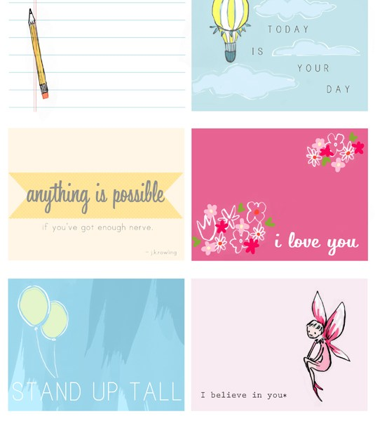 Printable Lunch Notes from Sarah Jane Studios